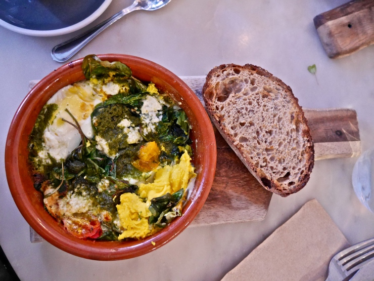 Green Baked Eggs at Bluestone Lane Collective - New York