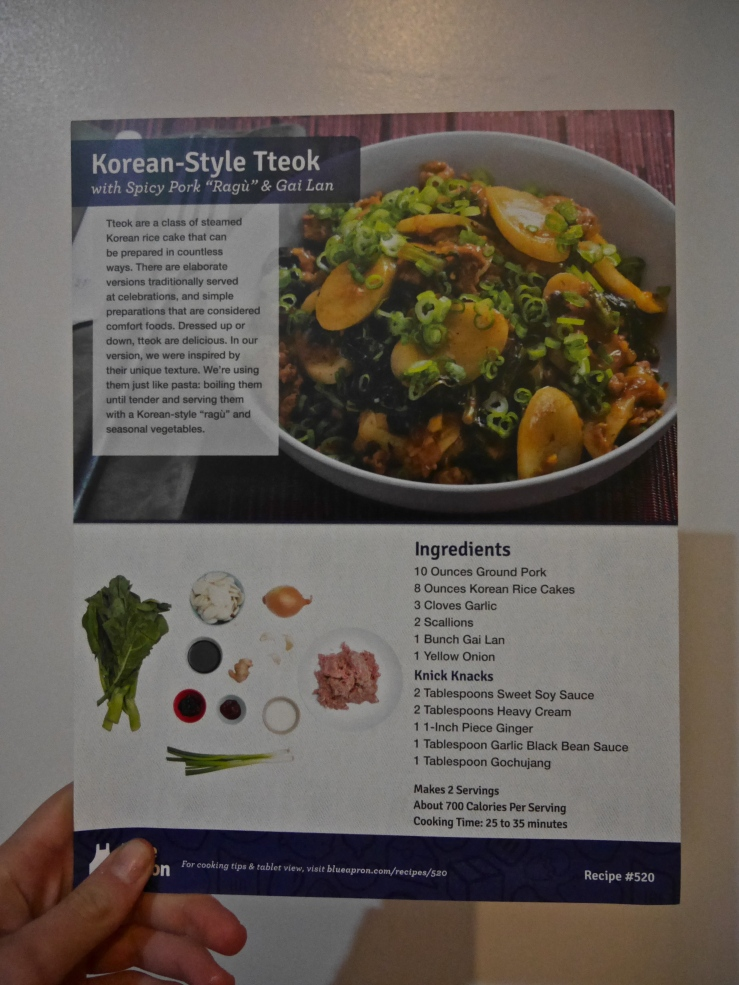 Ingredients List - Blue Apron