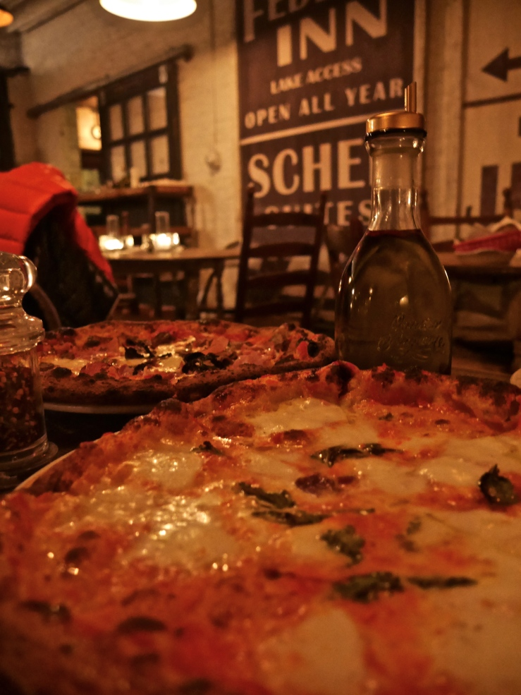 Margherita and Prosciutto & Funghi  Pizza at Saraghina - Bedstuy, Brooklyn, NYC